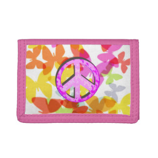 Peace Symbol and Butterflies Trifold Wallet