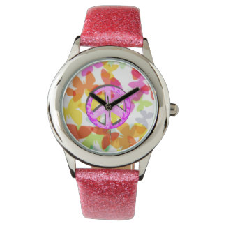 Peace Symbol and Butterflies Watches