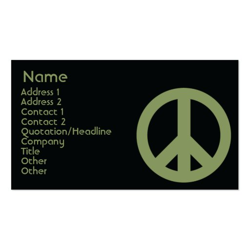 Peace Symbol - Business Pack Of Standard Business Cards