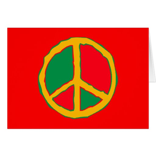Peace Symbol Designed In Bold Stimulating Colors Greeting Card
