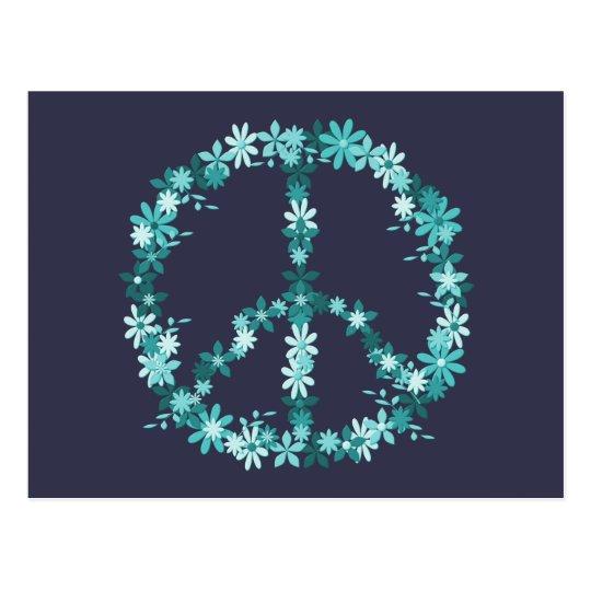 Peace symbol flower power postcard