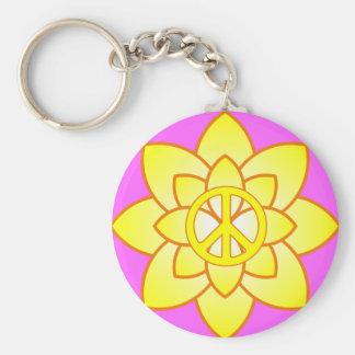 Peace Symbol Flower - Yellow Basic Round Button Key Ring