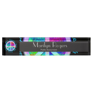 Peace Symbol in Rainbow Colors with Tree of Life Name Plate