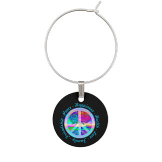 Peace Symbol in Rainbow Colors with Tree of Life Wine Charm