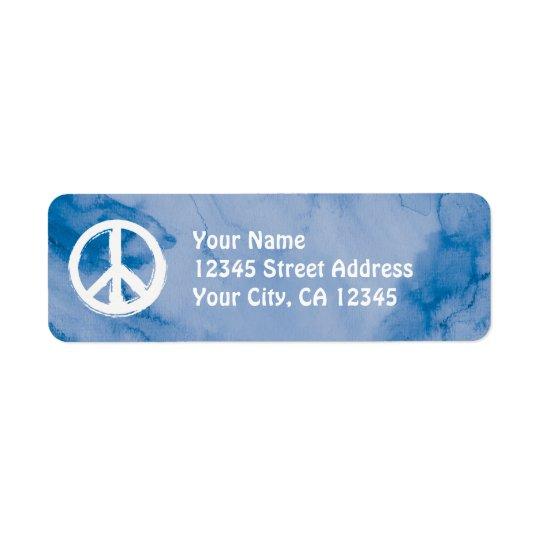Peace Symbol in White on Watercolor Return Address Label