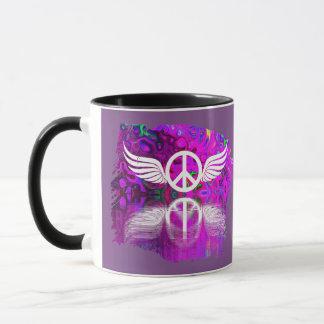Peace Symbol on Purple Background Mug