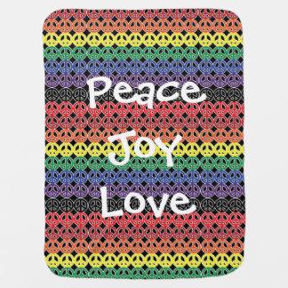Peace Symbol Rainbow on Black Peace Joy Love Baby Blanket