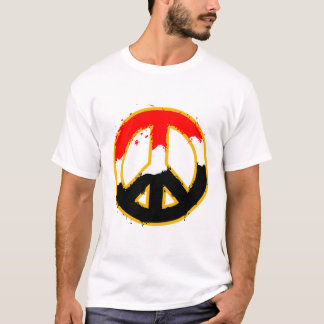 PEACE SYMBOL RED BLACK FLAG COUNTRY T-Shirt
