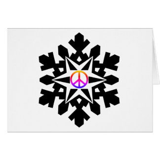 Peace symbol snow-flake Christmas card