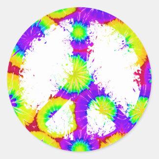 Peace Symbol Tie Dye Ink 3 Round Sticker