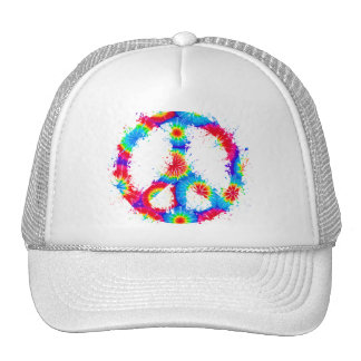 Peace Symbol Tie Dye Ink Mesh Hats