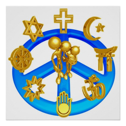 Peace Symbol Uniting All World Religions Poster