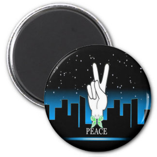 Peace Symbol with a City Background 6 Cm Round Magnet