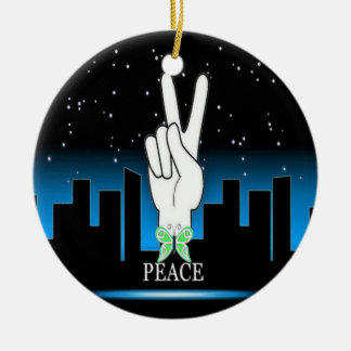 Peace Symbol with a City Background Ceramic Ornament