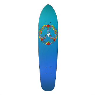 Peace symbol with flowers and stars pop-art style 19.7 cm skateboard deck