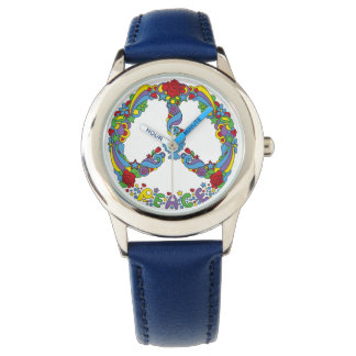Peace symbol with flowers and stars pop-art style wrist watches