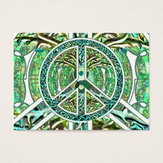 Peace Symbol, Yin Yang, Tree of Life in Green Business Card
