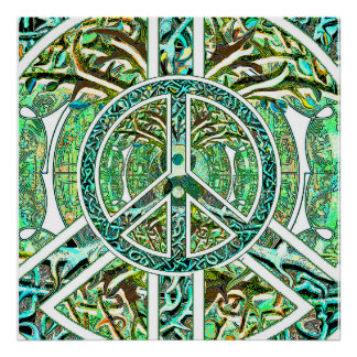 Peace Symbol, Yin Yang, Tree of Life in Green Poster