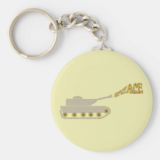 Peace Tank - Army Tank Shoots Peace Out of Gun Basic Round Button Key Ring