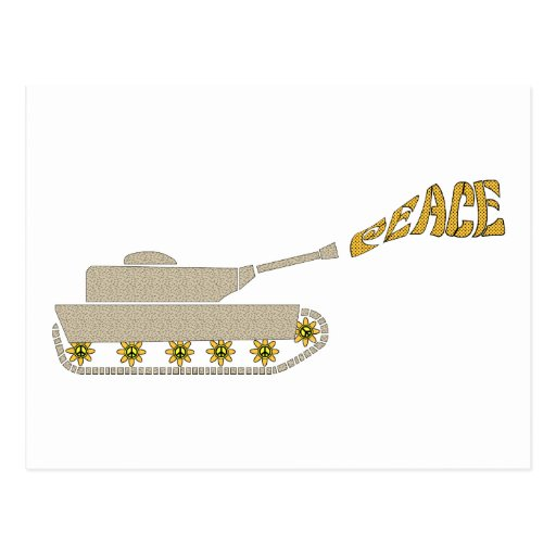 Peace Tank - Army Tank Shoots Peace Out of Gun Post Card