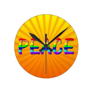 peace text round clock