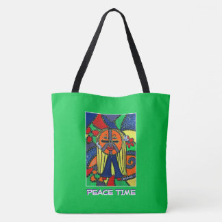 Peace Time - Green  - Time Pieces Tote Bag