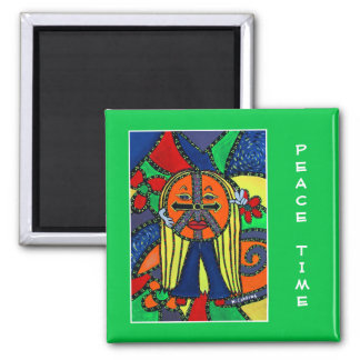 Peace Time On Bright Green  - Time Pieces Magnet