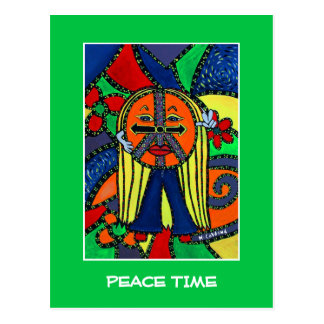 Peace Time On Bright Green - Time Pieces Postcard