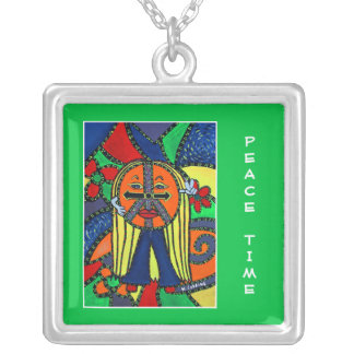 Peace Time On Bright Green  - Time Pieces Silver Plated Necklace