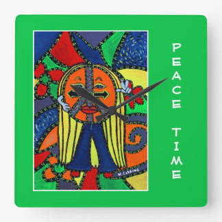 Peace Time On Bright Green  - Time Pieces Square Wall Clock
