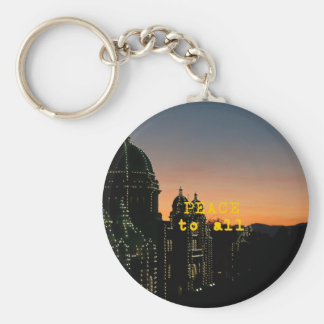 Peace To All - Mosques With Lights Key Ring
