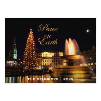Peace - Trafalgar Square at Christmas, London. 13 Cm X 18 Cm Invitation Card