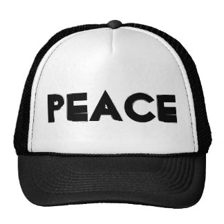 PEACE Trucker Hat Black and White