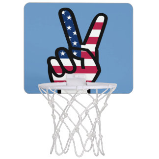 Peace / Victory Sign With American Flag Mini Basketball Hoop
