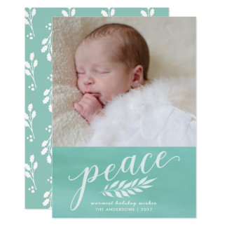 Peace Watercolor Christmas Hand Painted Script Card