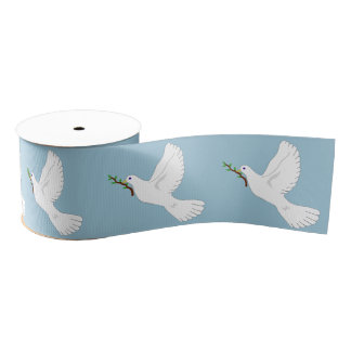Peace White Dove with Olive Branch Gift Ribbon Grosgrain Ribbon