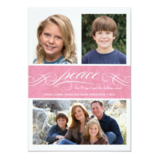 Peace Winter Pink Holiday Triple Photo Flat Card