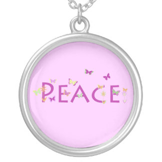 """Peace"" with butterflies & flowers on pink design Round Pendant Necklace"