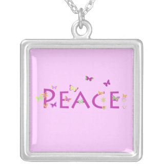 """""""Peace"""" with butterflies & flowers on pink design Pendant"""