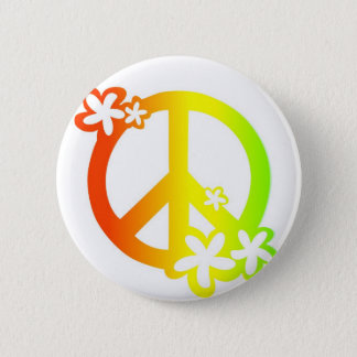 peace with flowers rasta colors 6 cm round badge