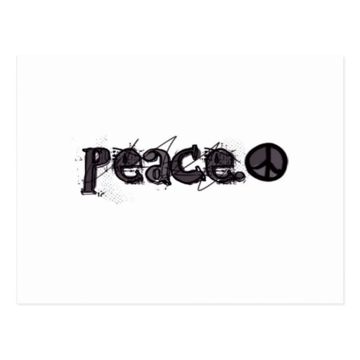 Peace With Symbol Post Cards