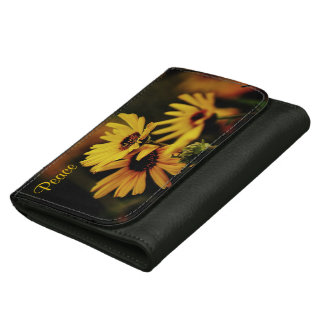 Peace with Yellow Daisy Leather Wallet