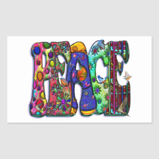 Peace Word Art Birds and Butterflies Rectangular Sticker