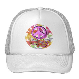 Peace Word Symbol and Butterflies Hats