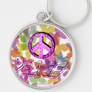 Peace Word Symbol and Butterflies Silver-Colored Round Key Ring