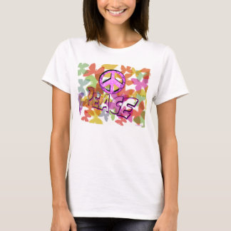 Peace Word Symbol and Butterflies T-Shirt