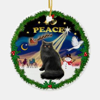 Peace Wreath - Black Persian cat Ceramic Ornament