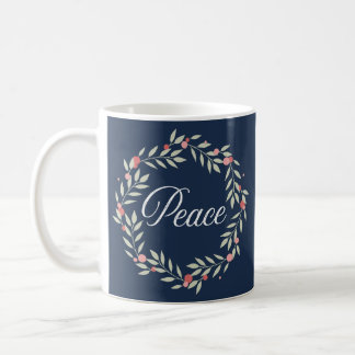 Peace Wreath Contemporary Holiday Coffee Mug