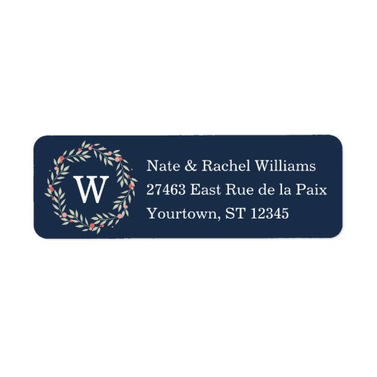 Peace Wreath   Navy Monogram Custom Return Address Label
