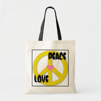 peace_yellowmag, Heart, PEACE, LOVE Tote Bag